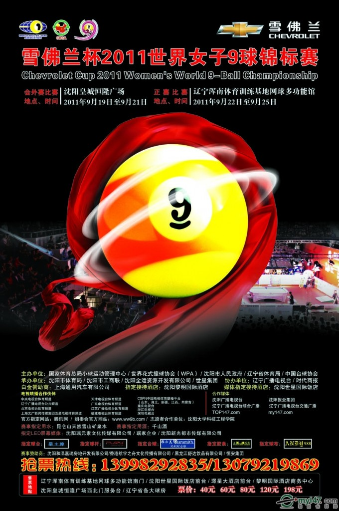 Womens World 9-Ball Championships 2011 begin next week