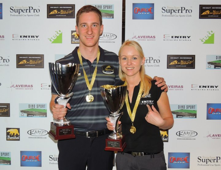 Grabe and Jaruśauskaite lead at Olympic-Online Baltic Pool League 2012