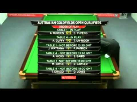 Snooker Australian Goldfields Open 2012 qualifiers R2 - Burden vs Cao曹宇鵬- Fr.3/4