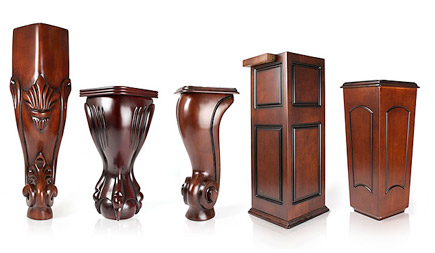Hand-carved, solid wood legs