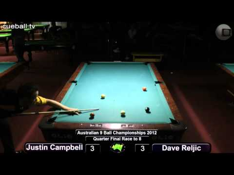 Aus 9 ball 2012 quarter final Dave Reljic v Justin Campbell